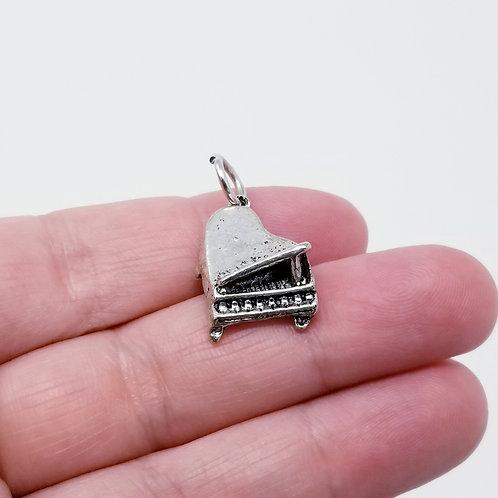 Grand Piano Silver Charm