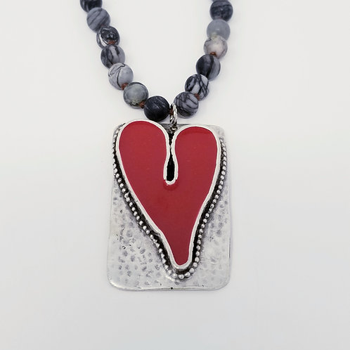 Long Beaded Red Heart Ice Resin Necklace 14