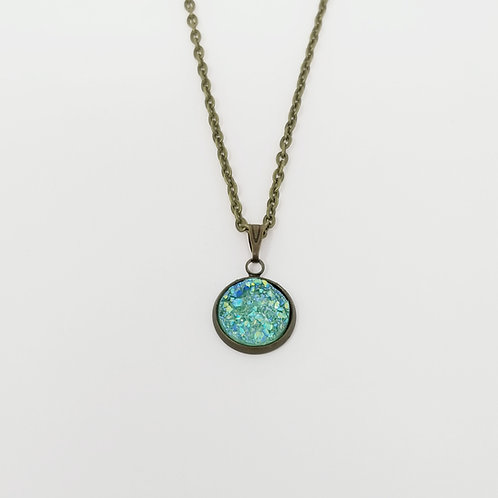 Sea Glass Green Faux Druzy Cabochon in Antique Bronze Pendant Necklace