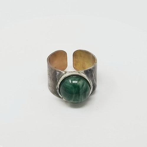 Malachite Green Soldered Brass Ring
