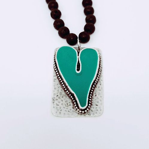 Long Beaded Green Turquoise Ice Resin Necklace 4