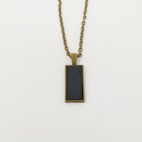 Short Grey Leather & Metal Pendant Necklace 22