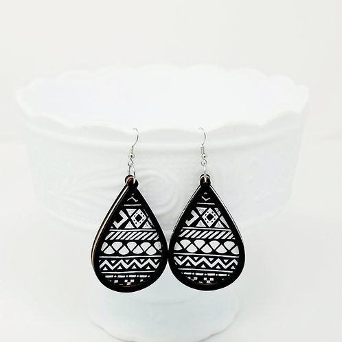 Black & White Tribal Genuine Leather & Wood Earrings