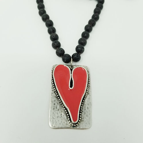 Long Beaded Salmon Heart Ice Resin Necklace 1