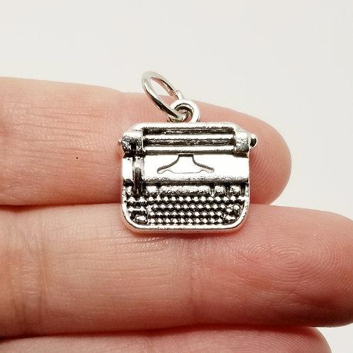 Typewriter Silver Charm