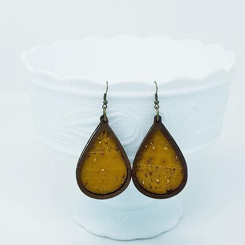 Mustard & Gold Cork Fabric & Wood Earrings