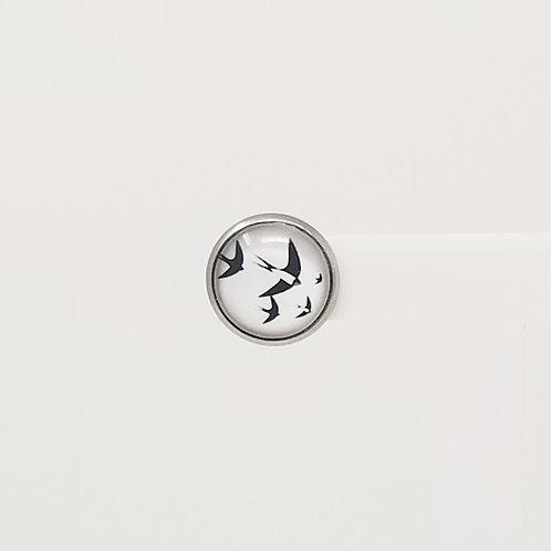 Birds of Flight 12mm Round Stud Earrings