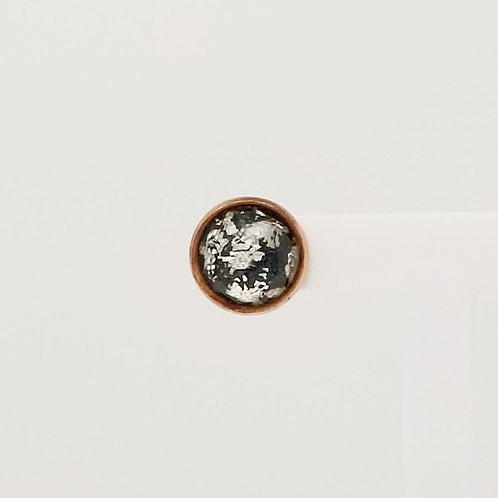 Black & Silver Leaf Cabochon 12mm Stud Earrings