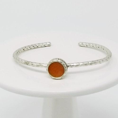 Ice Resin Burnt Orange Cuff Bracelet