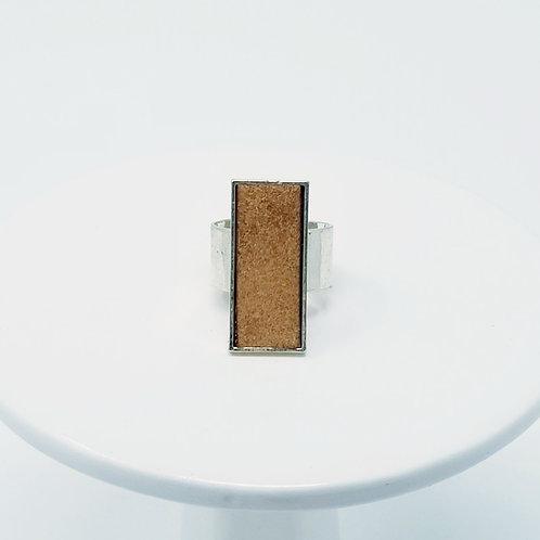 Light Brown Rustic Leather & Metal Ring