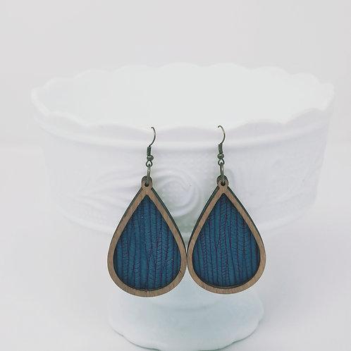 Teal Palm Leaf Genuine Leather & Wood Earrings