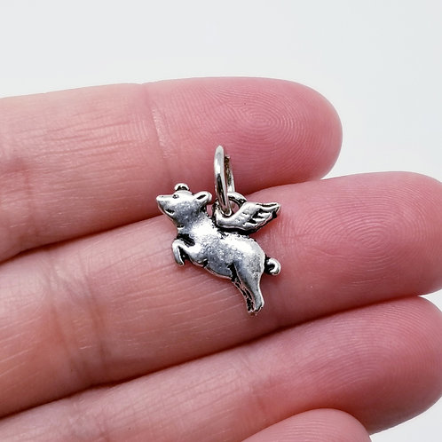 Flying Pig Silver Charm
