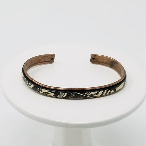 Picasso Print Adjustable Leather & Metal Cuff Bracelet