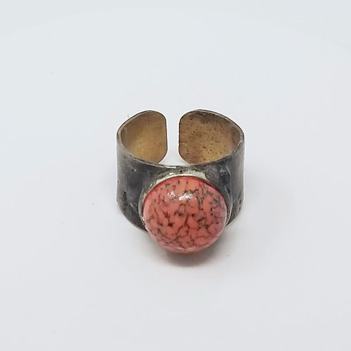 Preciosa Czech Coral Matrix Soldered Brass Ring