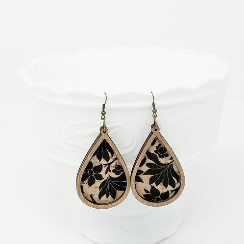 Black Tropical Cork Fabric & Wood Earrings