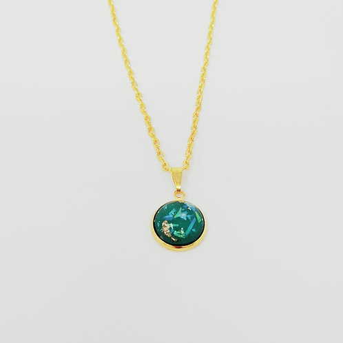 Green Glitter Bomb in Gold Cabochon Pendant Necklace