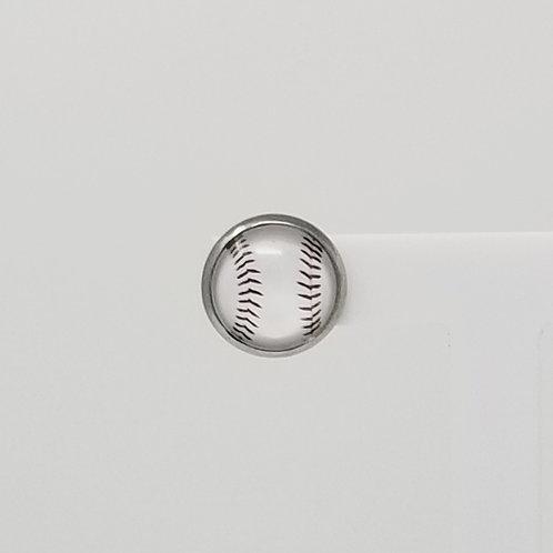 White Baseball 12mm Round Stud Earrings