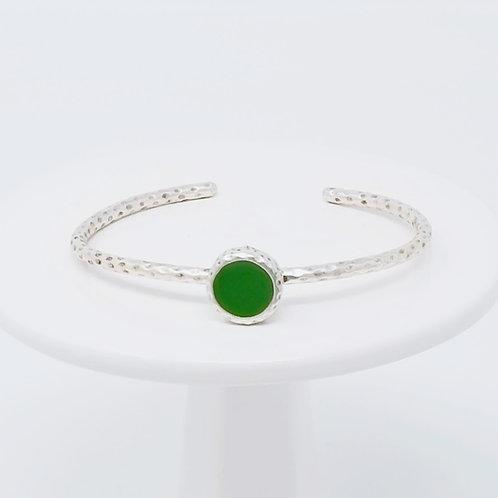 Ice Resin Green Cuff Bracelet