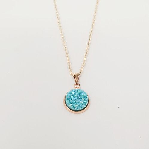 Easter Egg Blue in Rose Gold Cabochon Pendant Necklace