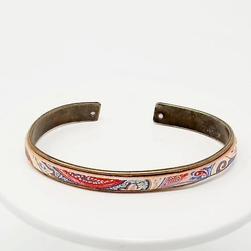 Primary Color Floral Adjustable Leather & Metal Cuff Bracelet