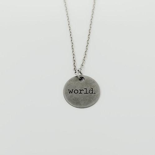 """World"" Word Pendant Necklace"