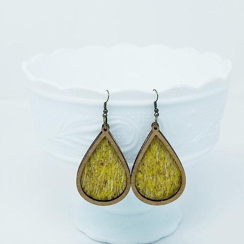 Yellow Straw Cork Fabric & Wood Earrings