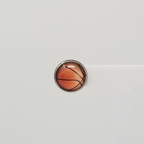 Basketball 12mm Round Stud Earrings