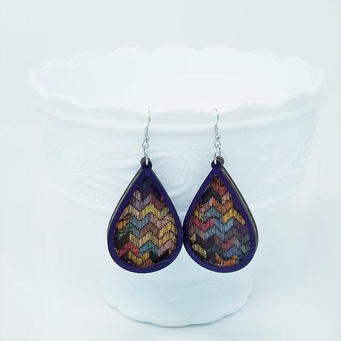Multicolored Zig Zag Cork Fabric & Wood Earrings
