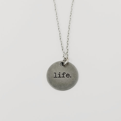 """""""Life"""" Word Pendant Necklace"""