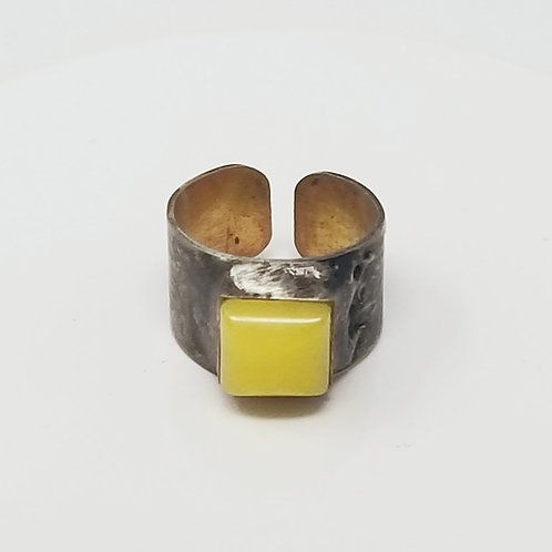 White Jade Dyed Yellow Soldered Brass Ring