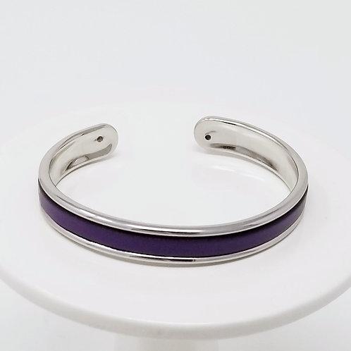 Deep Purple Firm Leather & Metal Cuff Bracelet