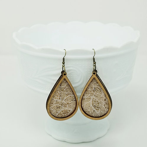 White Lace Cork Fabric & Wood Earrings