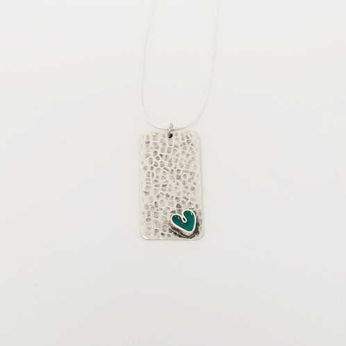 Short Turquoise Wide Heart Ice Resin Necklace 3