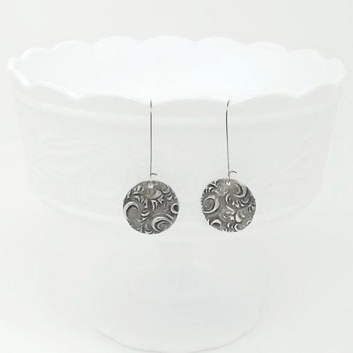 Long Circle 12 Molten Solder Earrings
