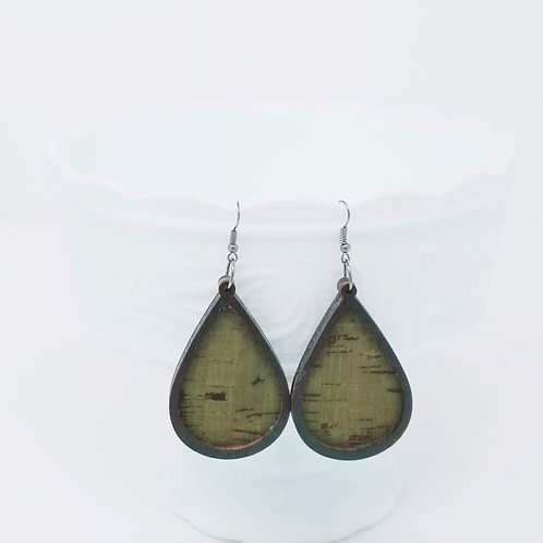 Khaki & Black 1 Cork Fabric & Wood Earrings