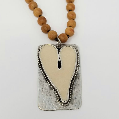 Long Beaded Cream Heart Ice Resin Necklace 5