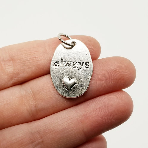 Always with a Puffed Heart Silver Charm