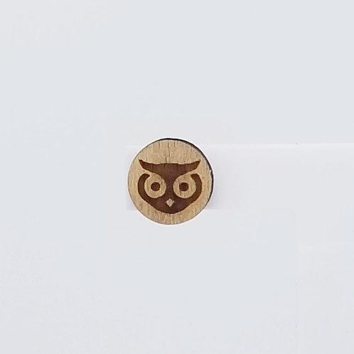 Owl Circle Wood Stud Earrings