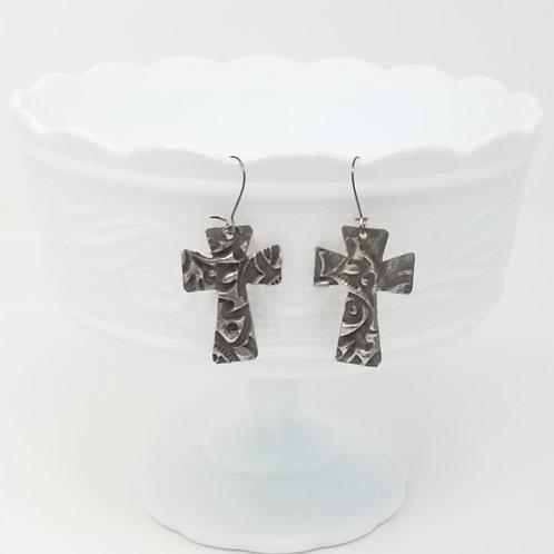 Medium Large Cross 4 Molten Solder Earrings
