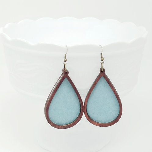 Pearlized Ice Princess Blue Green Genuine Leather & Wood Earrings