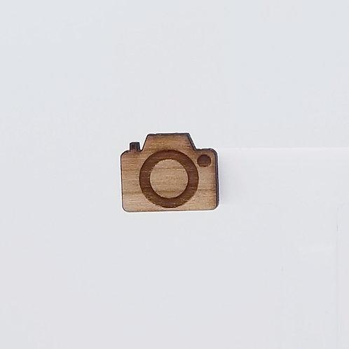 Camera Wood Stud Earrings