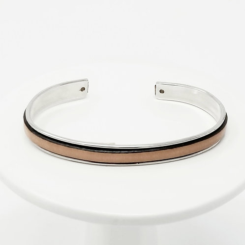 Natural Adjustable Leather & Metal Cuff Bracelet