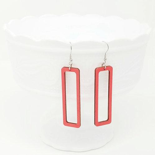 Empty Rectangle Wood Earrings