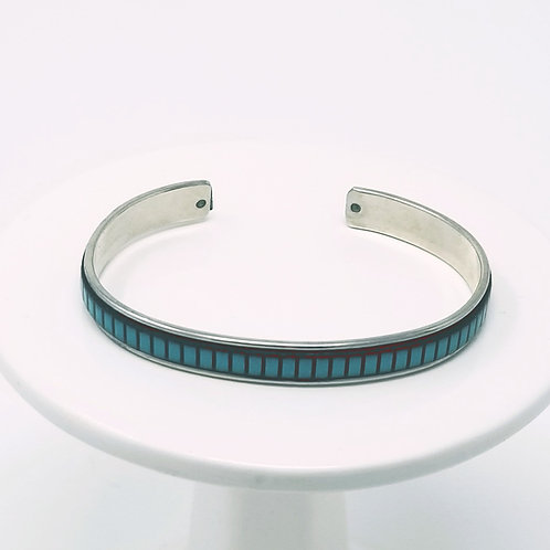 Turquoise with Black Stripes Adjustable Leather & Metal Cuff Bracelet