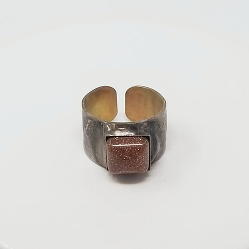 Sparkly Gold Stone Soldered Brass Ring
