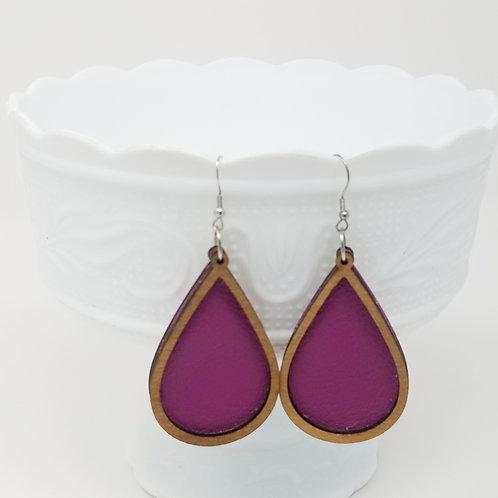 Dark Magenta Purple Divine Genuine Leather & Wood Earrings