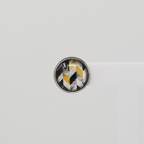 Mustard Grunge Chevron 12mm Round Stud Earrings