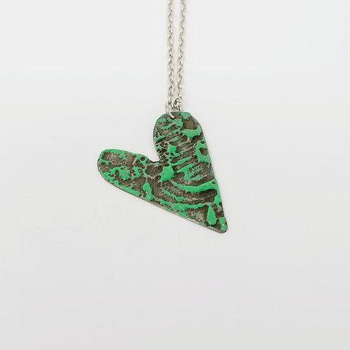 Short Green Heart Molten Solder Necklace 22