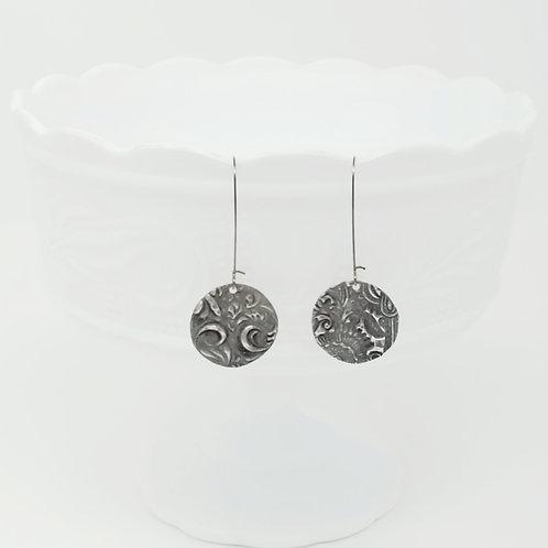 Long Circle 11 Molten Solder Earrings