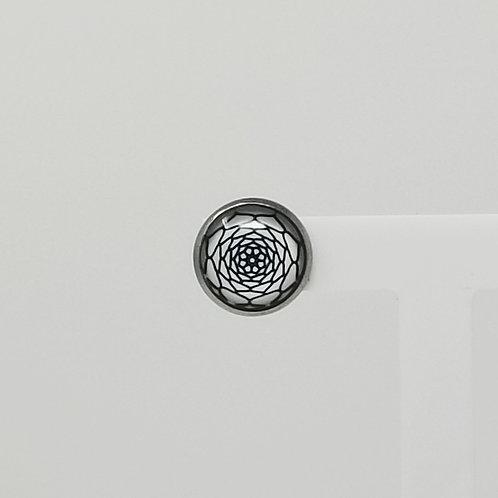 Doodled Rose 12mm Round Stud Earrings